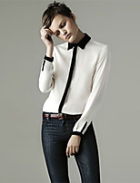 Women's Solid White/Green/Beige Shirt , Casual Shirt Collar Long Sleeve