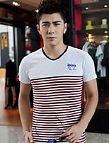 Overige - Gestreept - Heren - T-shirt - Informeel - Korte mouw