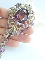 Wedding Accessories Gold-tone Purple Rhinestone Crystal Flower Brooch Art Deco Crystal Brooch Bouquet Women Jewelry