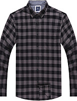 Men's Cotton Casual Long Sleeve Plaids Shirts