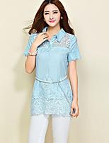 Women's Casual Inelastic Short Sleeve Long Blouse (Chiffon/Lace)