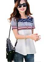 Women's Vintage/Casual/Cute/Party/Work/Plus Sizes Micro-elastic Short Sleeve Regular Blouse (Cotton)