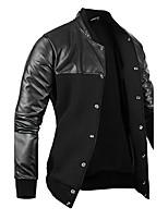 Men's Long Sleeve Jacket , Cotton/PU Casual/Work