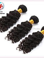 3 pièces 6a vente chaude couleur naturelle vague profonde remy de tissage de cheveux malaisien