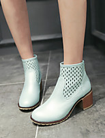 Zapatos de mujer - Tacón Stiletto - Botas Anfibias / Punta Redonda - Botas - Oficina y Trabajo / Casual - Semicuero -Negro / Azul / Rosa