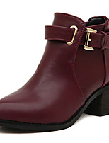 Chaussures Femme - Extérieure / Décontracté - Noir / Bordeaux - Gros Talon - Bottine - Bottes - Faux Cuir