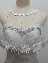 Wedding  Wraps Boleros Sleeveless Tulle/Sequined White Bolero Shrug