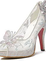 Women's Shoes Tulle Stiletto Heel Heels/Peep Toe/Platform Sandals Wedding/Party & Evening/Dress White