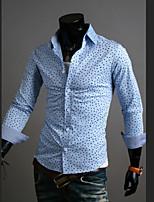 Men's Fashion Print Slim Long Sleeved Shirt