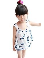 Summer Kids Girls Bow Camisole Flounced Beach Mini Dresses (Cotton Blends)