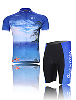 XINTOWN Seascape Unisex Short Sleeve Summer Cycling Suits Breathable/Quick Dry/Anatomic Design/3D Pad/Wicking Blue