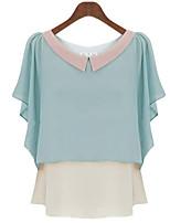 Women's Casual Plus Sizes Inelastic Short Sleeve Regular Blouse (Chiffon)
