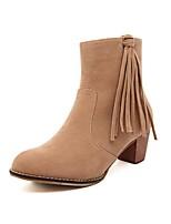 Zapatos de mujer - Tacón Robusto - Punta Redonda / Punta Cerrada - Botas - Casual - Cuero Sintético - Negro / Marrón
