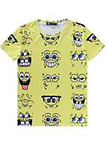 European Style TEE Digital Printing 3D T-shirt Wrinkled Spongebob Harajuku Sleeved T-shirt