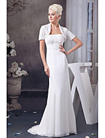Mother of the Bride Dress Sweep/Brush Train Short Sleeve Chiffon and Lace Trumpet/Mermaid Dress