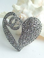 Women Accessories Wedding Gray Rhinestone Crystal Love Heart Brooch Wedding Deco Crystal Brooch
