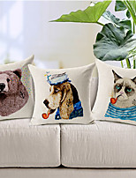 Set of 3 Cartoon Smoking Animals Cotton/Linen Decorative Pillow Covers