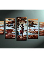 Hand-painted Labor Life African tribe Abstract Landscape Home Decor Oil Painting on Canvas 5pcs/set  No Frame