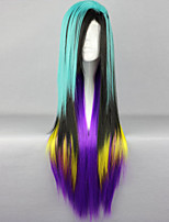 The New Wig Anime Characters Green Color Multicolor Mixed Long Straight Hair Wigs