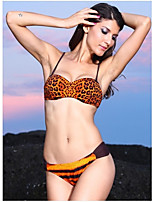 Women's Push-up Leopard Bandeau Bikinis (Polyester/Spandex)