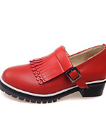 Women's Spring / Summer / Fall Heels / Comfort / Round Toe PU Outdoor / Office & Career / Dress Chunky Heel Tassel Black / Red / White