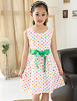 Girl's Summer Polka-Dots Sleeveless Dresses (Cotton Blends)