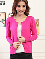 Women's Solid Blue/Pink/Red/Black/Green/Yellow/Purple/Gray Cardigan , Casual Long Sleeve