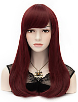 European And American Wind Wine Red Hair End Adduction Long Straight Hair Cos Wig