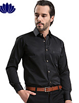 2015 Fashion Sapphire Blue Men Shirts, Black Button, Long sleeve,Solid Color,Turn-down Collar, Single Breasted (1215)