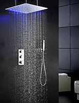 Thermostat  3 Colors Temperature Sensitive LED Bathroom Shower Faucet, 20 Inch Swash And Rainfall Shower Head