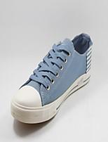 Zapatos de mujer Tejido Tacón Plano Comfort Sneakers a la Moda Deporte Negro/Azul
