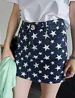 Women's Blue/Black Skirts , Casual Above Knee