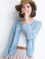 YINGYIYANG® Women's Korean Solid Color Openwork Long Sleeve Sunscreen Fit Cardigan Knitwear