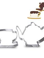 2 piezas conjunto de la taza de té y la tetera forma cortadores de galletas de frutas cortadas moldes de acero inoxidable