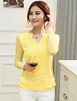 Women's Casual/Lace/Embroidery/Party/Plus Sizes Mesh Fashion Slim Micro-elastic Long Sleeve Regular Blouse (Chiffon)