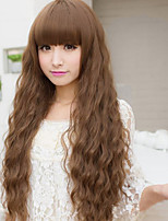 Fashion brown neat bang corn hot curly hair wig