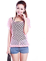Women's Sexy Casual Cute Micro Elastic Thin Short Sleeve Shirt (Knitwear)