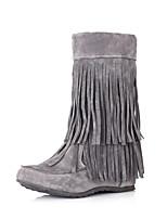 Scarpe Donna - Stivali - Formale - Stivali da neve / Punta arrotondata - Zeppa - Finto camoscio - Nero / Giallo / Grigio