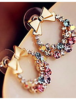 European Bowknot Multicolor Alloy With Rhinestone Stud Earrings