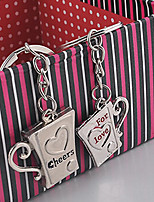 Stainless Steel Couples Love Letter Cheers Mug Cup Key Chain Ring Keyring