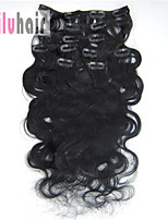 20inch (50cm) 8pcs 100g Body Wavy Clip in on Real Remy Human Hair Extensions Color #01 Jet Black