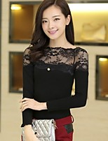 Women's Vintage/Sexy/Casual/Lace/Party/Work/Plus Sizes Micro-elastic Long Sleeve Regular Blouse (Lace/Cotton Blends)