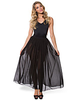 Women's Solid Black Skirts , Beach/Casual Maxi Mesh
