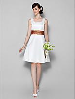 Vestido de Madrinha - Marfim Linha-A U profundo Coquetel Cetim