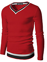 Men's Long Sleeve T-Shirt , Polyester Casual Pure