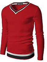 Tee-Shirt Décontracté Pour des hommes Manches longues Couleur plaine Polyester