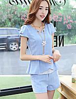 Women's Blue/Pink/Gray T-shirt Short Sleeve