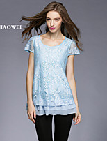 Women's Sexy/Casual/Cute/Party/Work/Plus Sizes Inelastic Short Sleeve Regular T-shirt