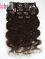 20inch (50cm) 8pcs 100g Body Wavy Clip in on Real Remy Human Hair Extensions Color #02 Dark Brown