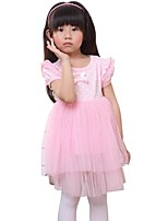 Summer Kids Girls Dot Bow Little Wings Mesh Layered Casual Dresses (Cotton Blends)